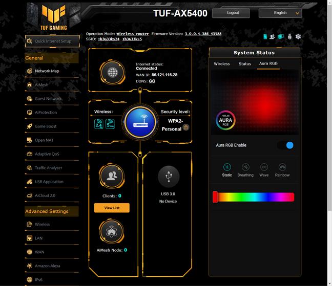 Firmware-ul de pe ASUS TUF-AX5400