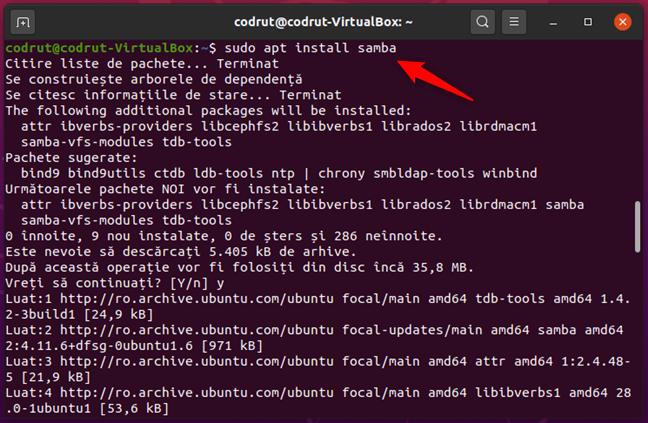 Comanda sudo apt install samba în Ubuntu Linux