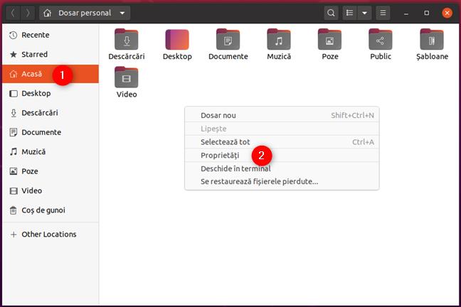 Deschiderea Proprietăților unui folder în Ubuntu Linux