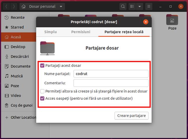 Configurarea partajării unui folder în Ubuntu Linux