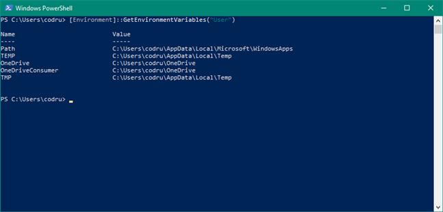 "Lista de variabile utilizator în PowerShell: [Environment]::GetEnvironmentVariables(""Machine"")"