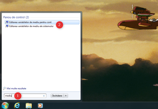 Folosirea căutării pentru a accesa variabilele de mediu în Windows 7