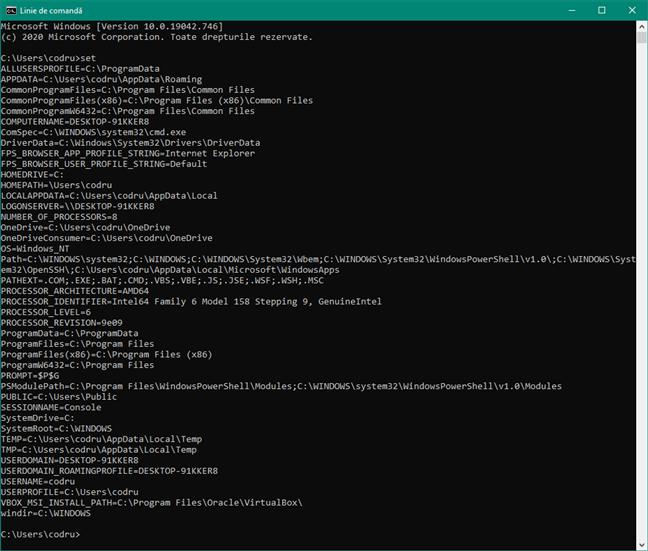 Folosește set pentru a genera lista de variabile de mediu în CMD