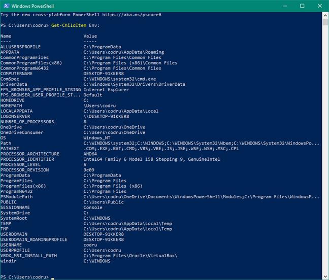 Generează lista de variabile de mediu folosind comanda Get-ChildItem Env: în PowerShell