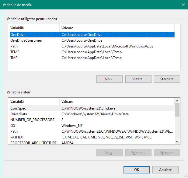 Variabile de mediu pentru utilizator și sistem în Windows 10