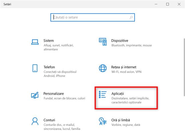 Accesează Aplicații din Setările Windows 10