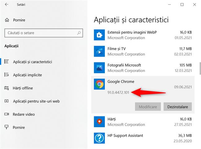 Cum verifici versiunea din Chrome în Windows 10 din Setări