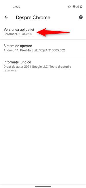Verifică versiunea de Chrome de pe Android din setările browserului