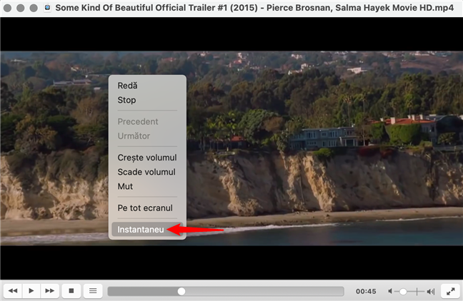 Fă un Instantaneu în VLC din meniul clic dreapta pe macOS