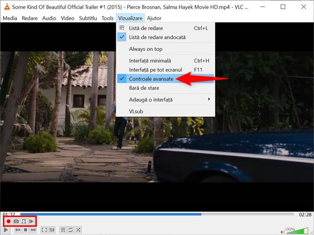 Afișează Controale avansate în Windows pentru a face o captură de ecran cu VLC
