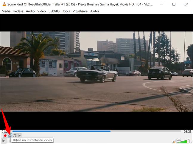 Folosește butonul Obține un instantaneu video pentru a face capturi de ecran cu VLC