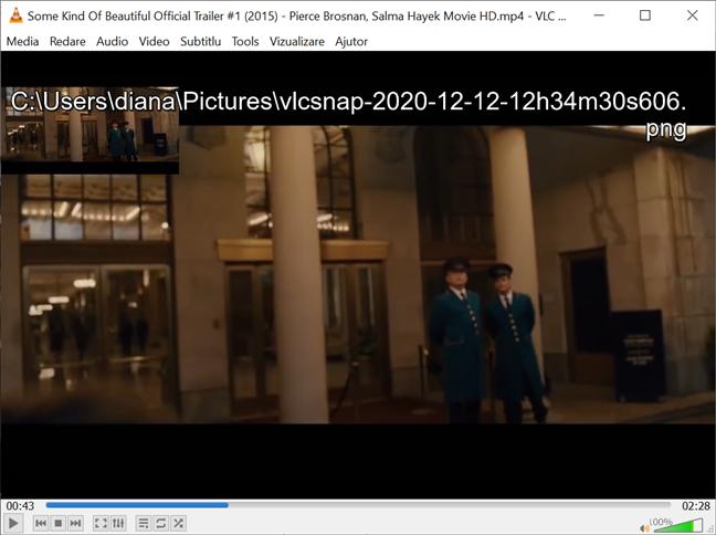 Verifică destinația de pe ecran pentru a vedea unde salvează VLC instanteneele
