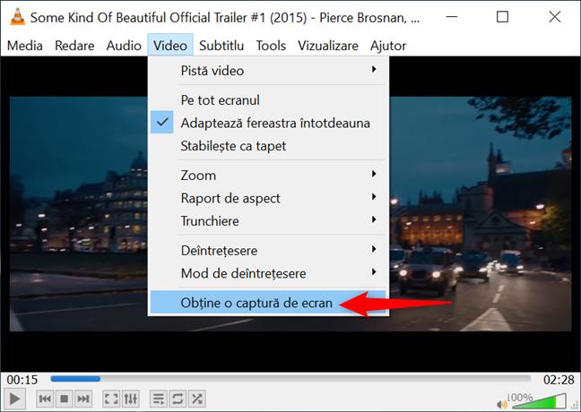 Opțiunea Obține o captură de ecran din meniul Video în VLC