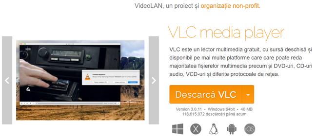 Descarcă VLC de pe site-ul oficial pentru a face capturi de ecran din filme