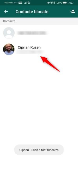 Cineva blocat în WhatsApp pe Android