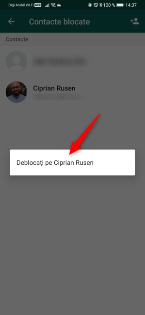 Deblocarea unei persoane pe WhatsApp pentru Android