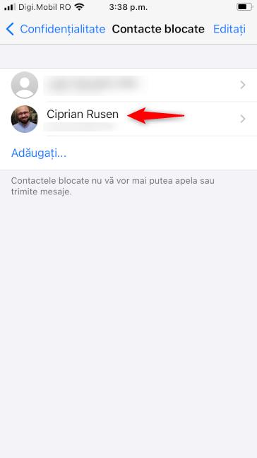 Cineva blocat în WhatsApp pentru iPhone