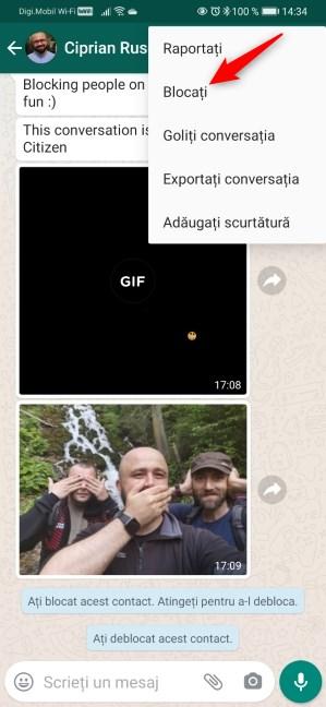 Cum blochezi pe cineva pe WhatsApp