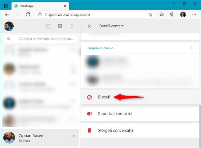 Cum blochezi pe cineva în WhatsApp Web de pe pagina de contact