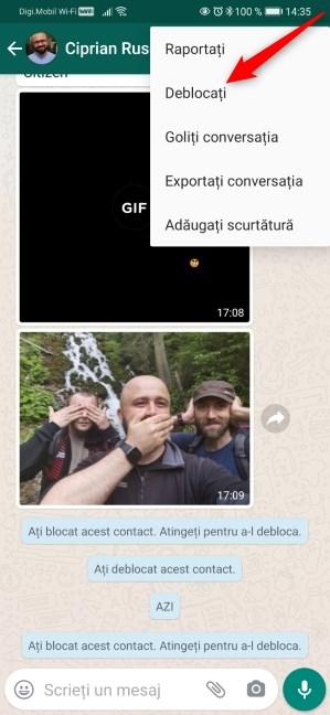 Cum deblochezi pe cineva pe WhatsApp