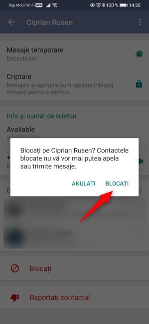 Confirmarea blocării