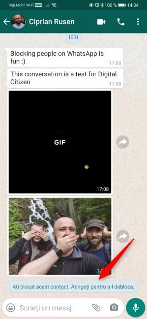 Un contact blocat pe WhatsApp
