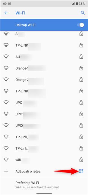 Apasă pe pictograma cod QR din partea de jos a listei de rețele