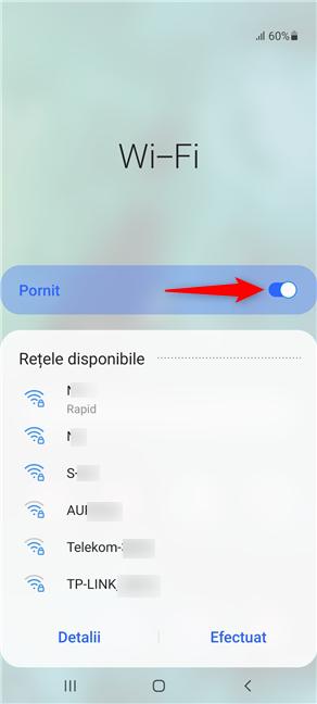 Asigură-te că ai activat comutatorul Wi-Fi pentru a afișa rețelele