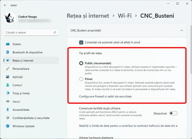 Cum setezi o rețea Wi-Fi drept Privată sau Publică în Windows 11