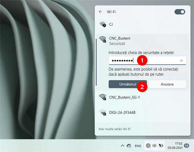 Introducerea parolei Wi-Fi în Windows 11