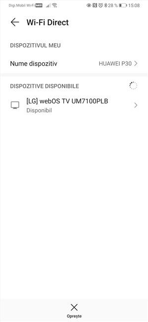 Utilizare Wi-Fi Direct pe un smartphone cu Android