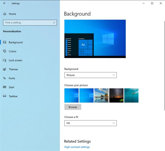Setările de personalizare pentru Windows 10