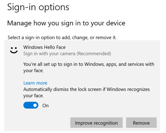 Windows Hello a primit unele îmbunătățiri