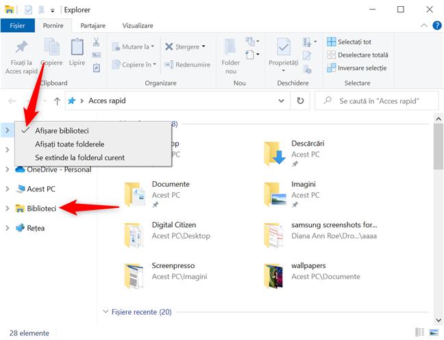 Bibliotecile din Windows 10 sunt activate cu succes