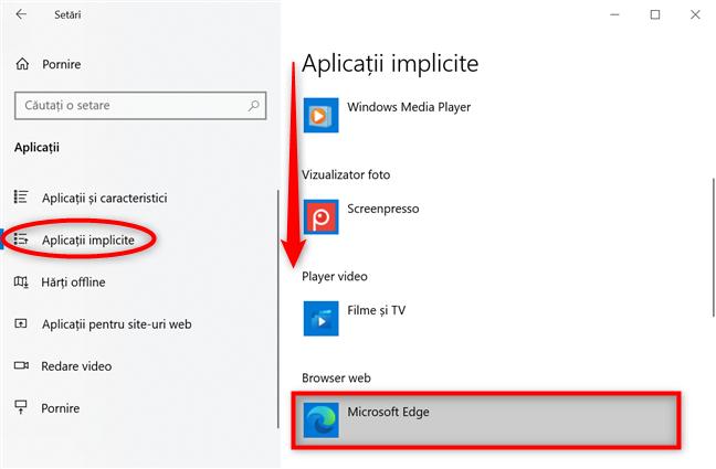 Apasă pentru a seta un alt browser implicit în Windows 10