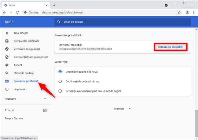 Apasă pentru a seta Google Chrome ca prestabilit