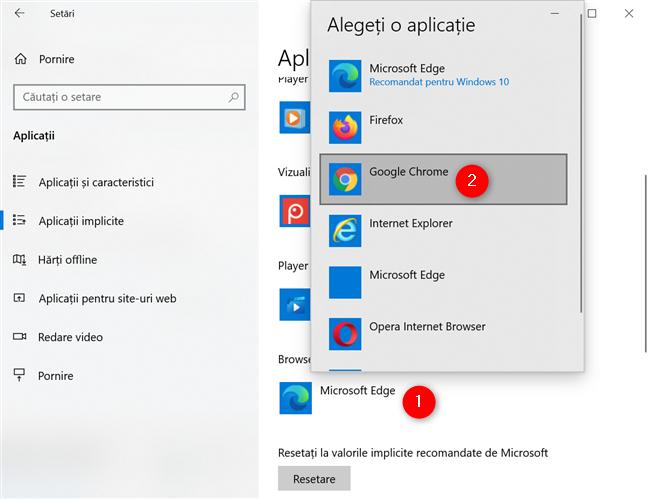 Cum setezi Google Chrome ca browserul implicit