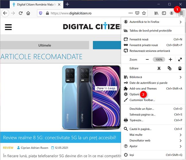 Accesează opțiunile Firefox