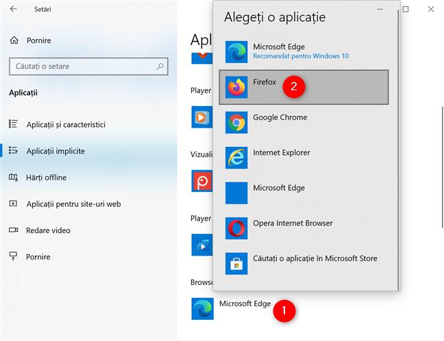 Cum setezi Firefox ca browserul implicit din Windows 10