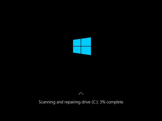 Progres reparare chkdsk la pornirea sistemului Windows 10