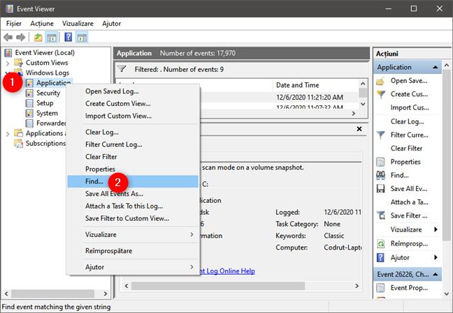 Selectare opțiune Find în Windows Logs Application din Event Viewer