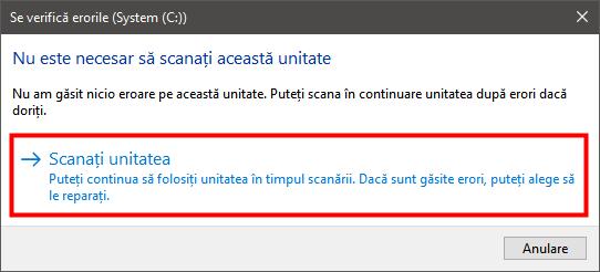 Instrument verificare erori disc în Windows 10