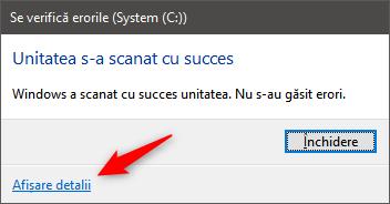 Scanare terminată cu chkdsk în Windows 10