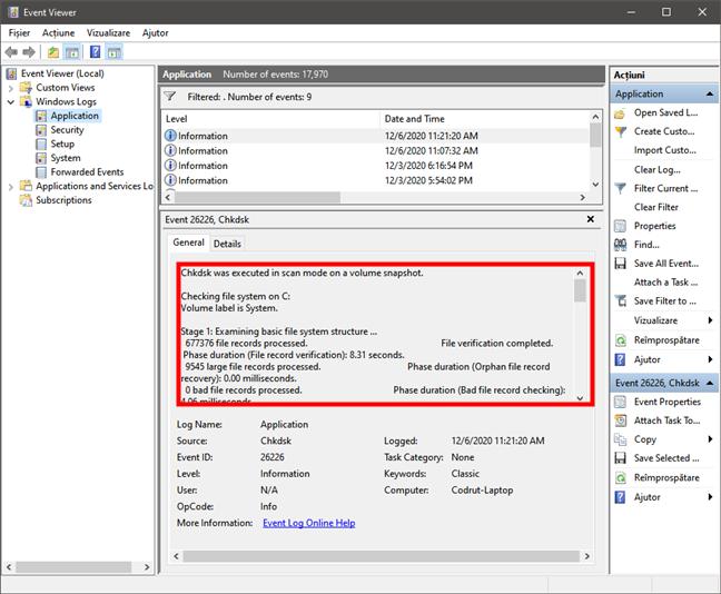 Event Viewer afișează rezultate scanare cu chkdsk în Windows 10