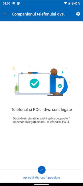 Android și Windows 10 sunt conectate