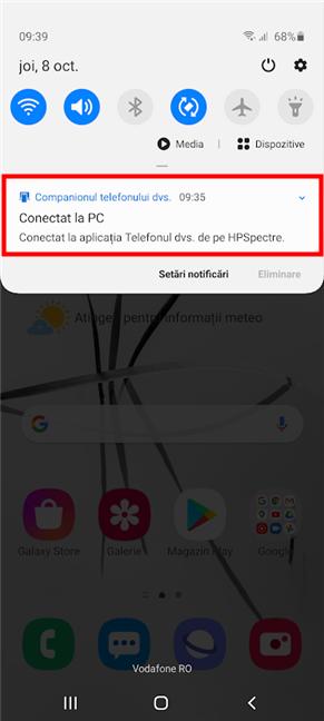 Caracteristica Link către Windows afișează o notificare a Companionul telefonului dvs.