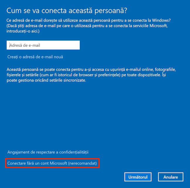 Alege să adaugi un cont non-Microsoft