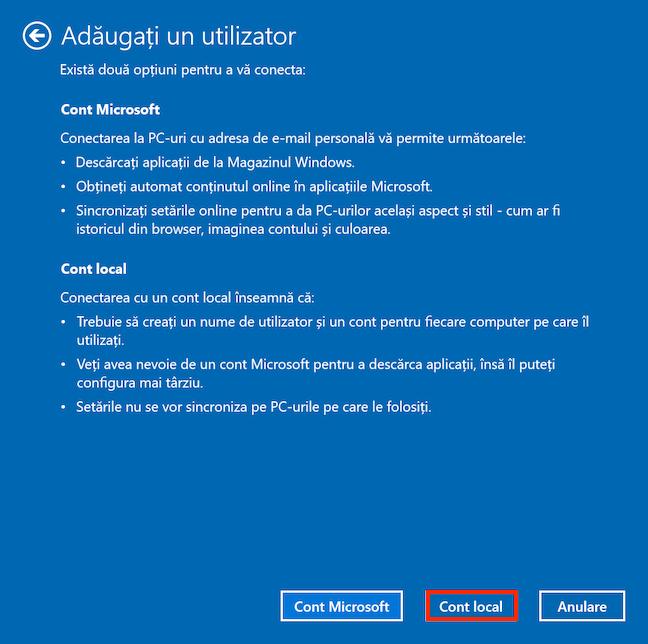 Ignoră informația falsă de la Microsoft și alege Cont local