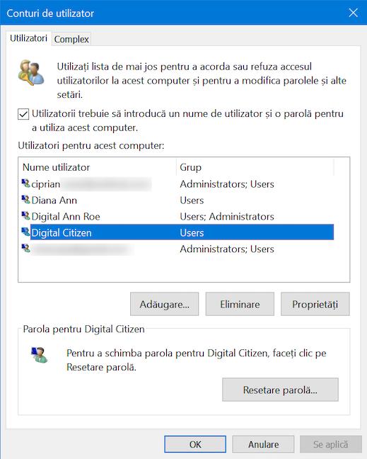 Noul utilizator este afișat în Conturi de utilizator