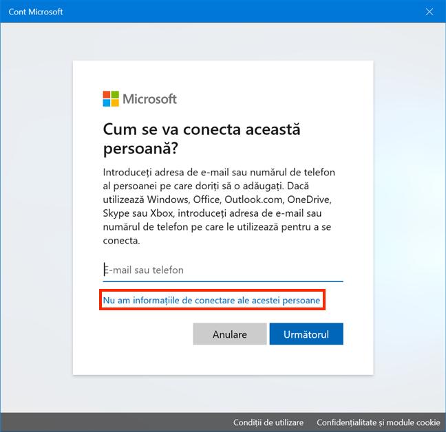 Evită crearea unui cont Microsoft
